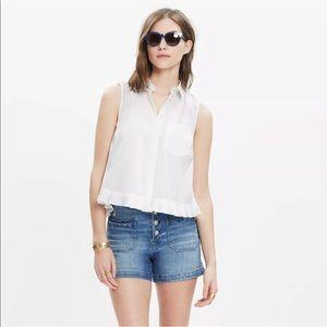 Madewell Top Blouse Pagoda Crop White Ruffle Shirt